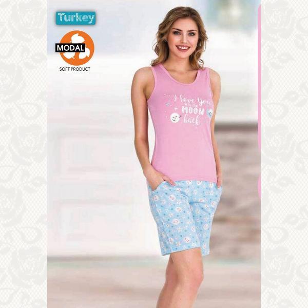 Домашний костюм с шортами, цвет розовый с фото, 3141