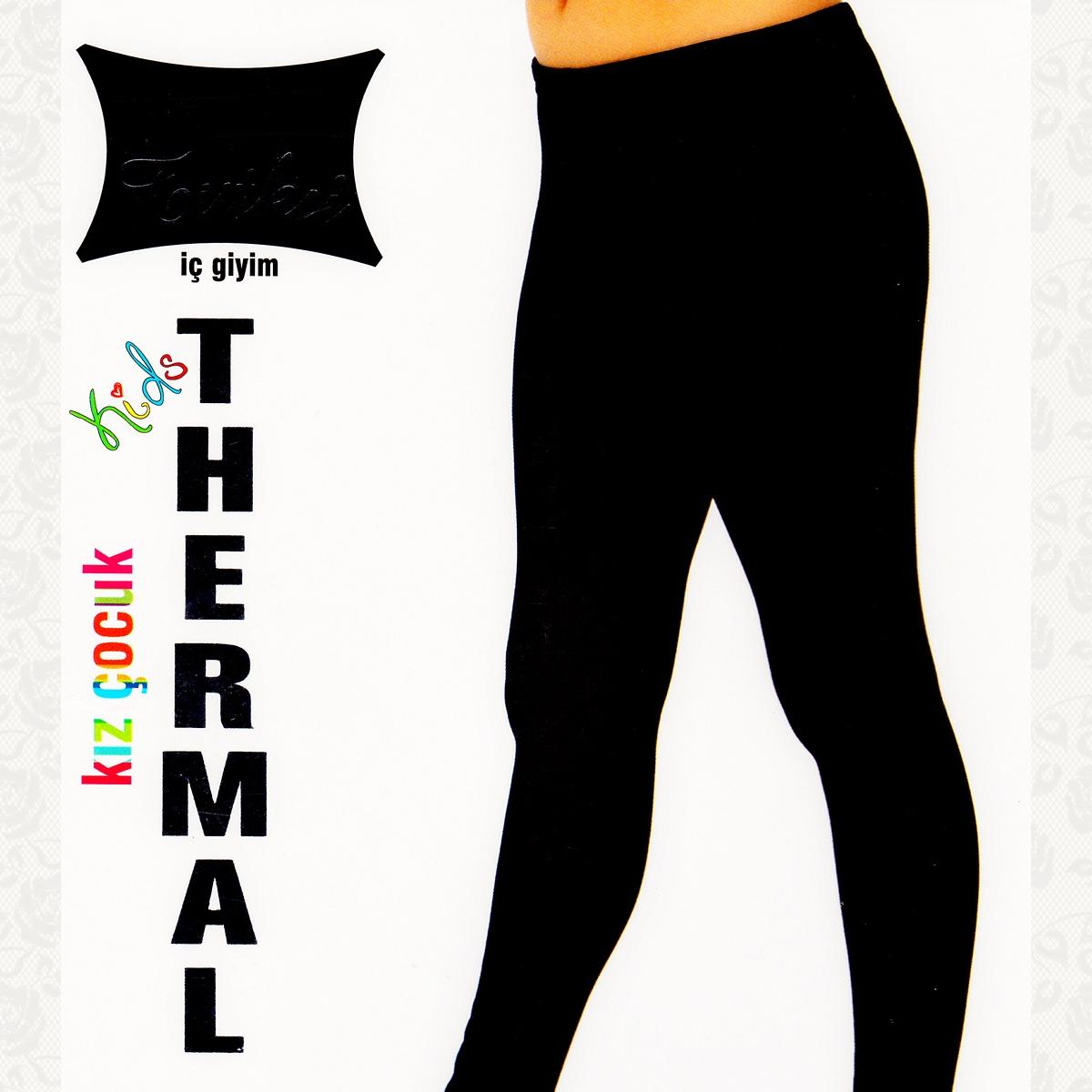 Термолосины для девочки, цвет черный с фото, 2 шт.