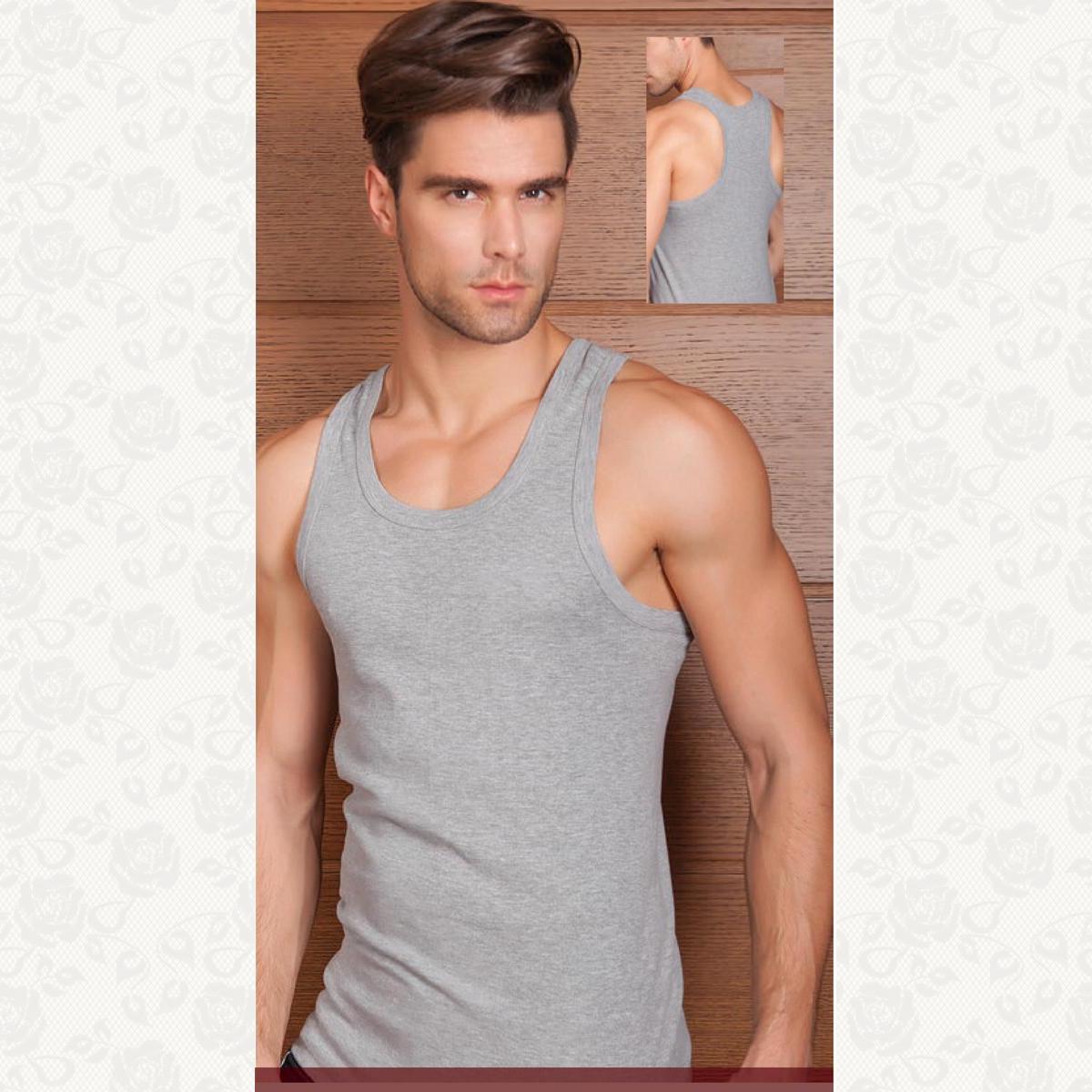 Майка мужская борцовка , цвет светло серый с фото