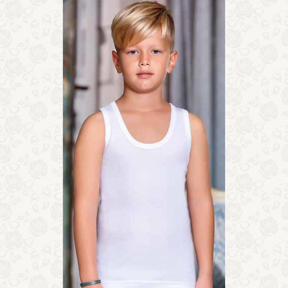 Майка для мальчика размер от 5 - 6, цвет белый с фото, 6 шт.
