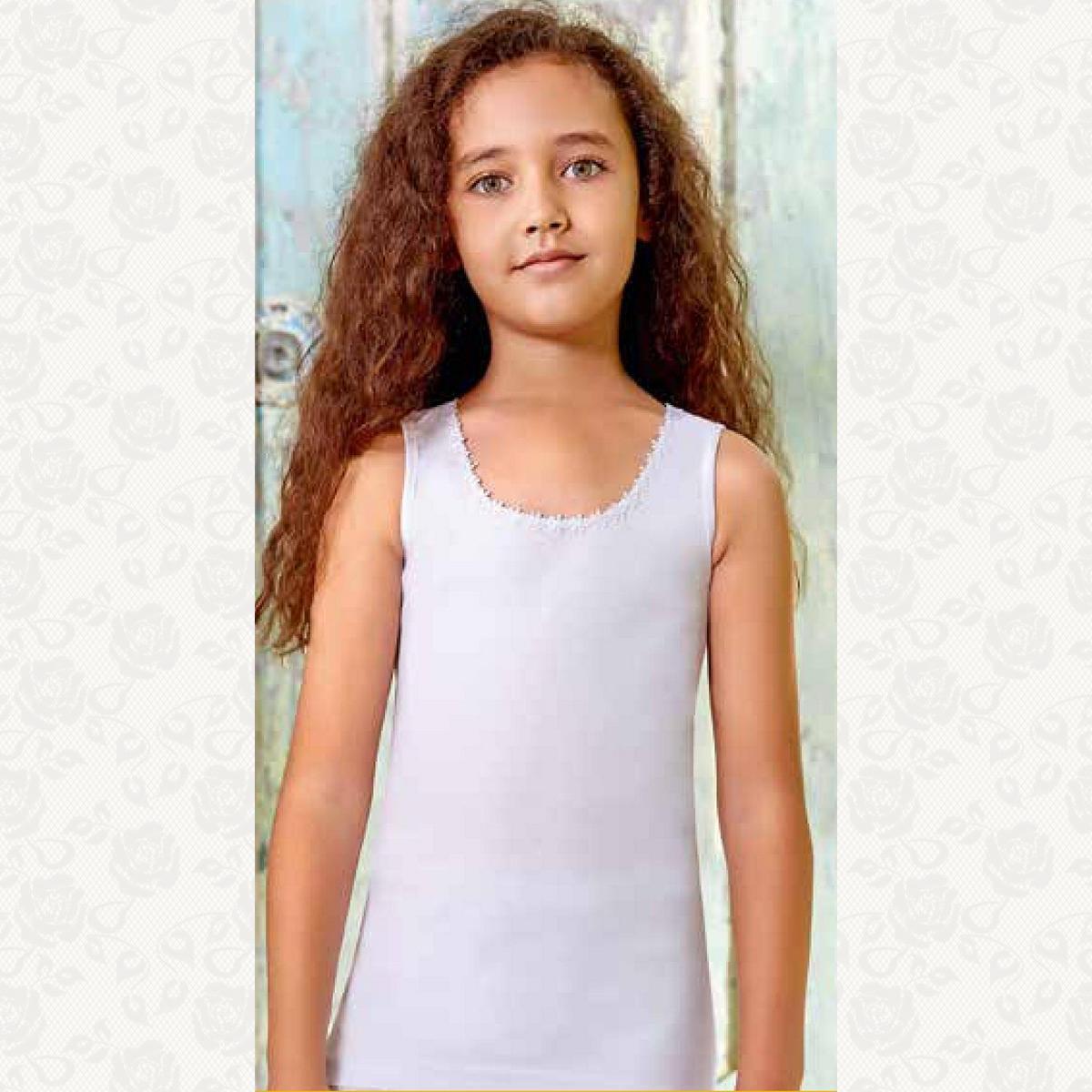 Майка для девочки размер от 1-3, цвет белый с фото, 6 шт.