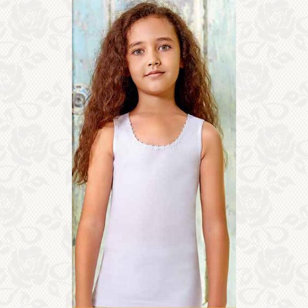 Майка для девочки размер от 4-6, цвет белый с фото, 6 шт., 2506