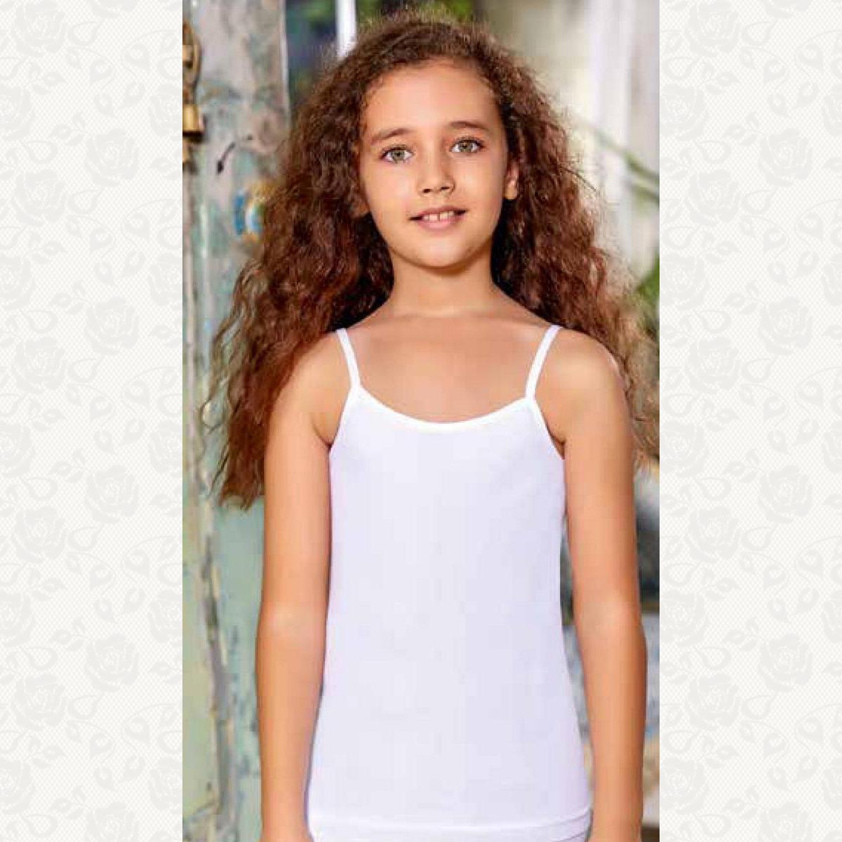 Майка для девочки размер от 4-6, цвет белый с фото, 6 шт.
