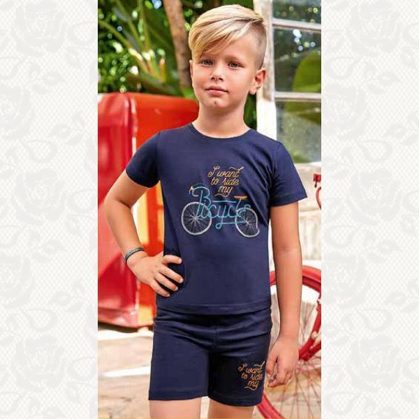 Пижамка для мальчика , цвет синий с фото, 2 шт., 5367