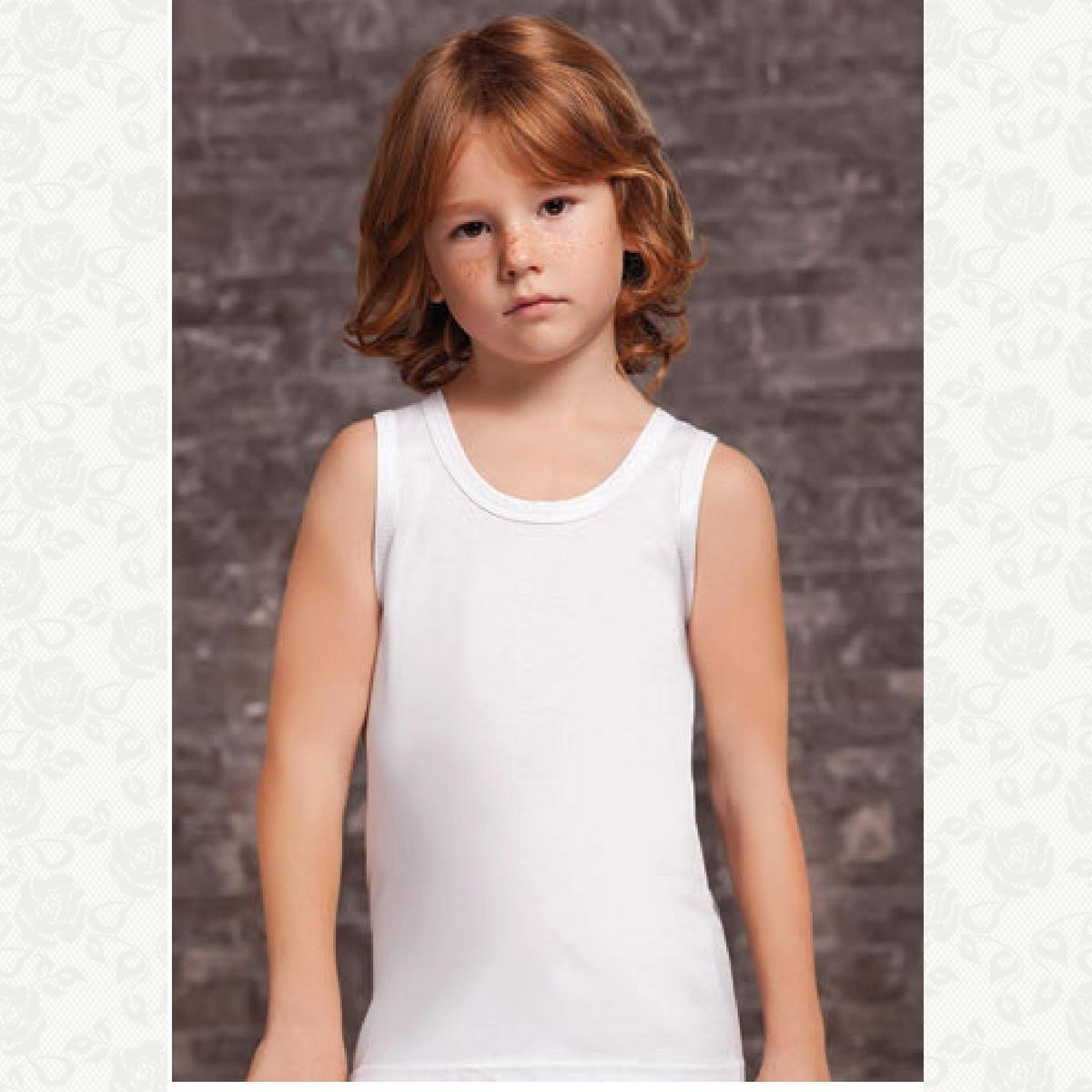 Майка для мальчика размер от 1 до 4, цвет белый, 6 шт.