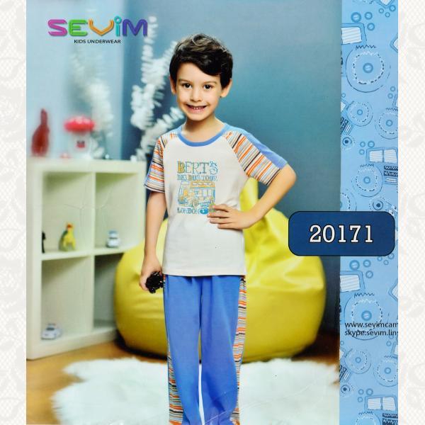Пижама для мальчиков, цвет бежевий с фото, 2 шт., 20171