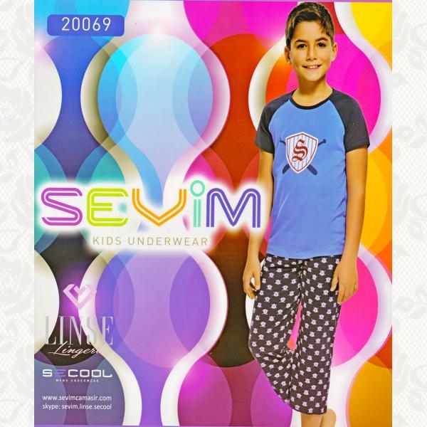 Пижама для мальчиков, цвет синий с фото, 2 шт., 20069