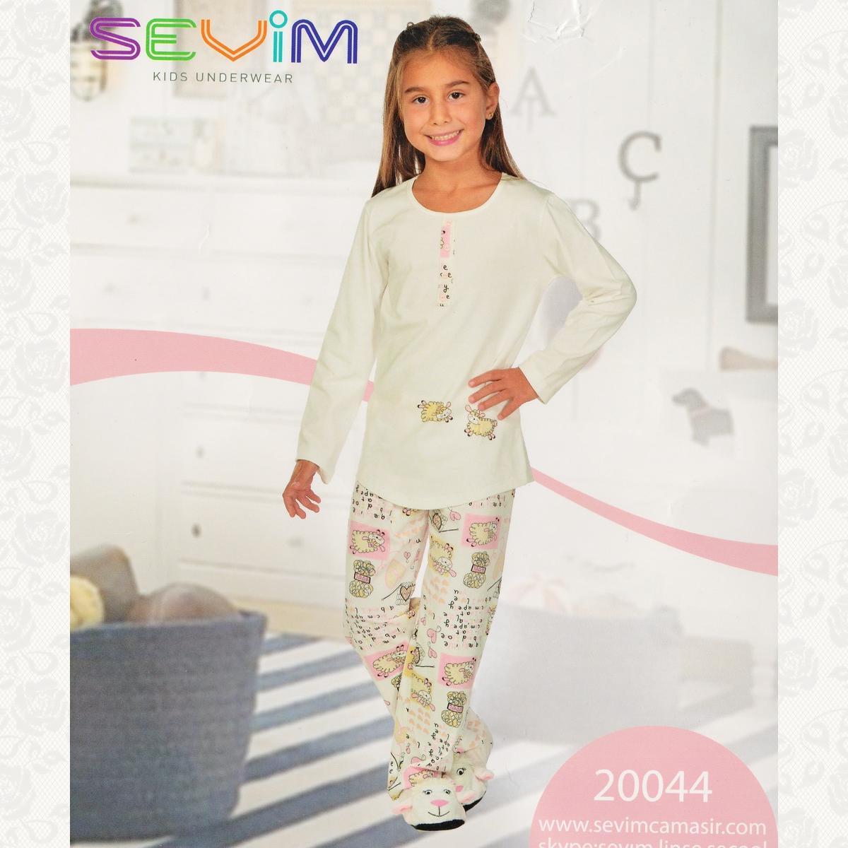 Пижама для девочки, цвет молочний с фото, 2 шт.