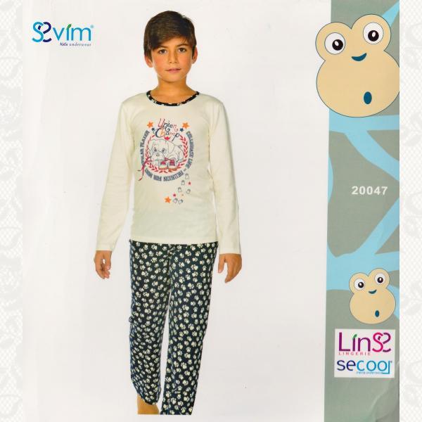 Пижама для мальчиков, цвет белый-синий с фото, 2 шт., 20047