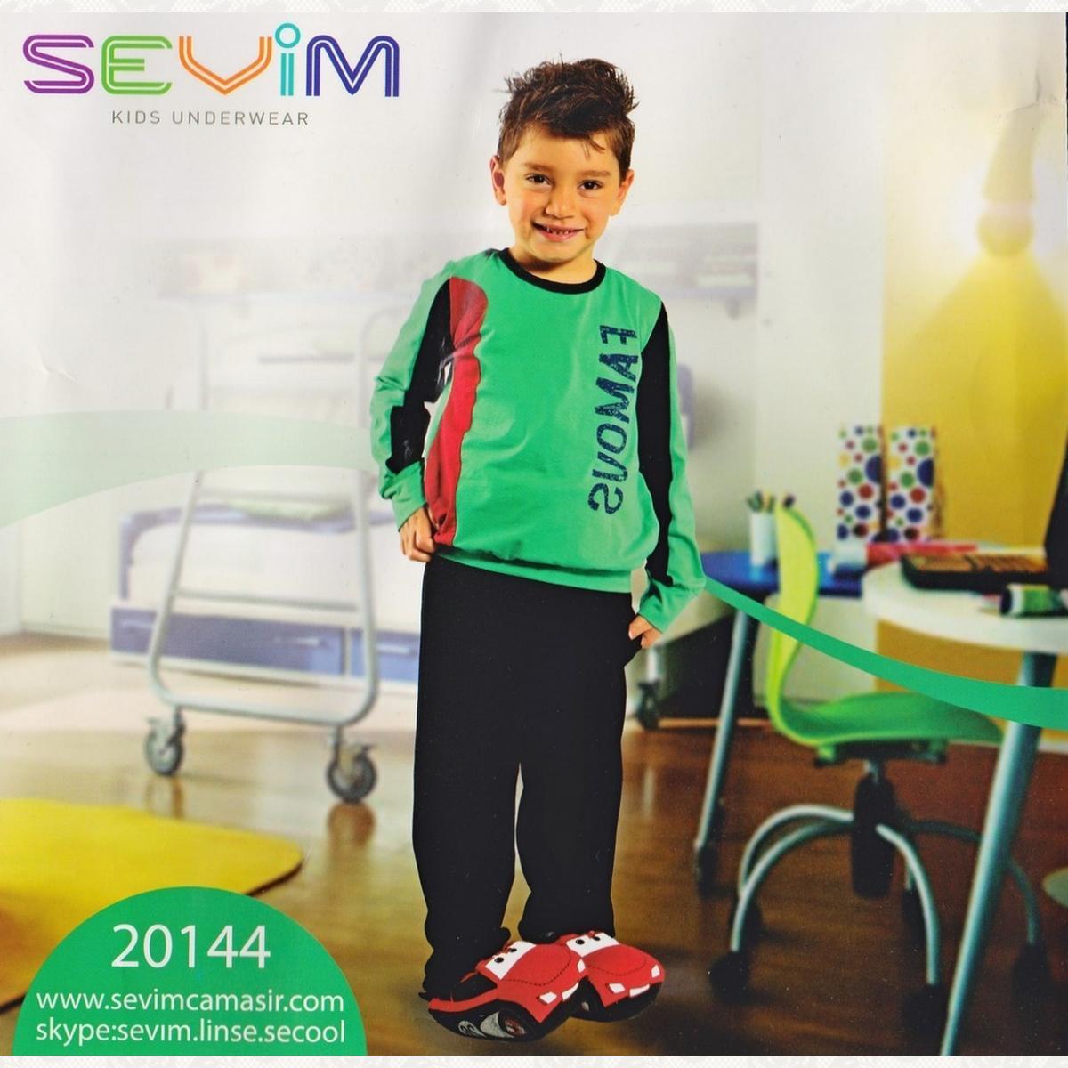 Пижама для мальчиков, цвет зеленый-черный с фото, 2 шт.