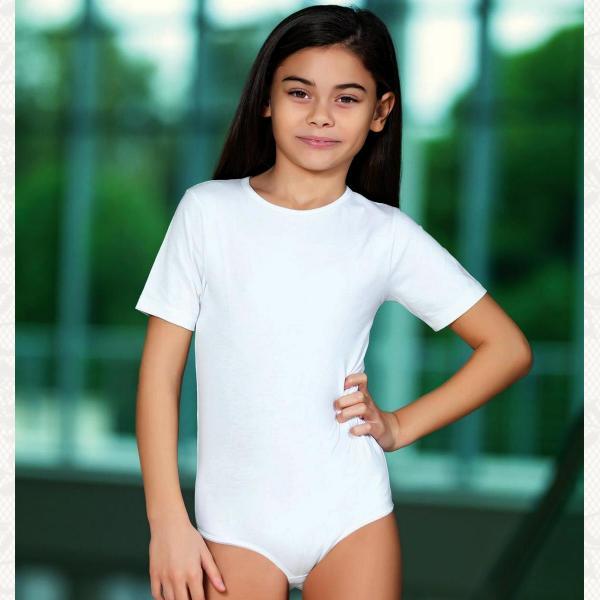 Боди для девочек с коротким рукавчиком, цвет белый с фото, 2536
