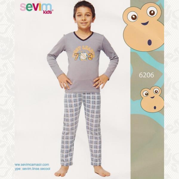 Пижама для мальчиков, цвет антрацит с фото, 2 шт., 6206