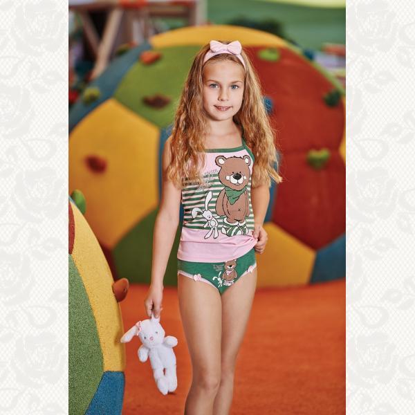 Комплект для девочки 'медвежонок' комплект крупномерит, цвет розовый, 2 шт., 6542