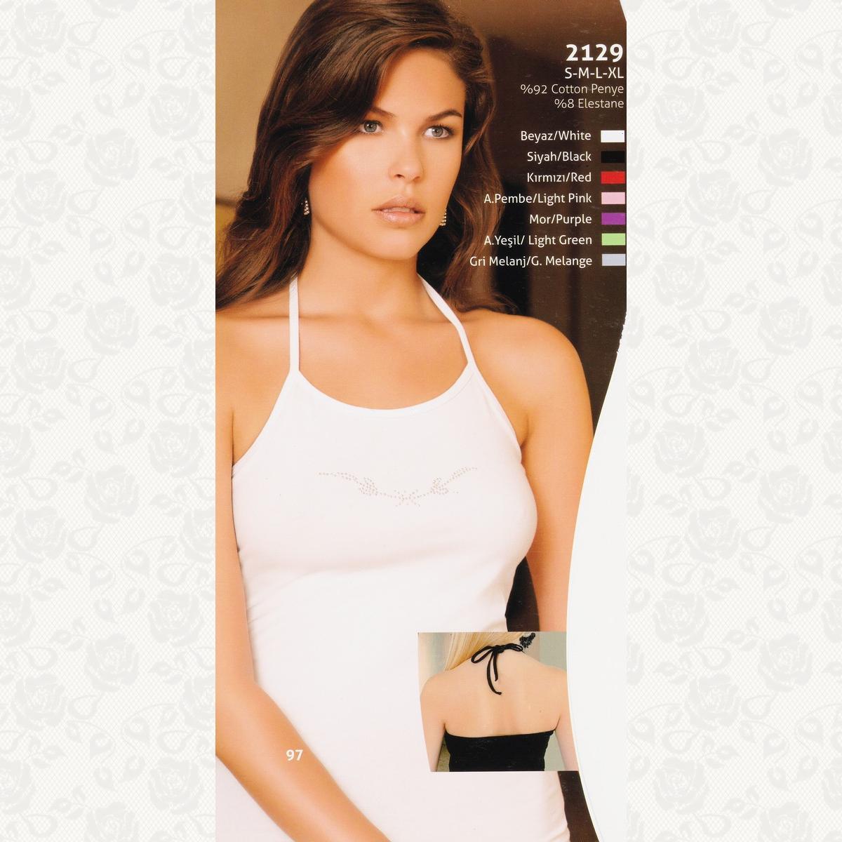 Майка женская с завязкой на шее berrak, цвет белый с фото