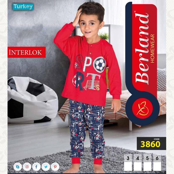 Домашний костюм для мальчика, цвет красный с фото, 3860