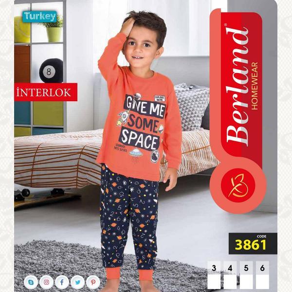 Домашний костюм для мальчика, цвет оранжевый с фото, 3861