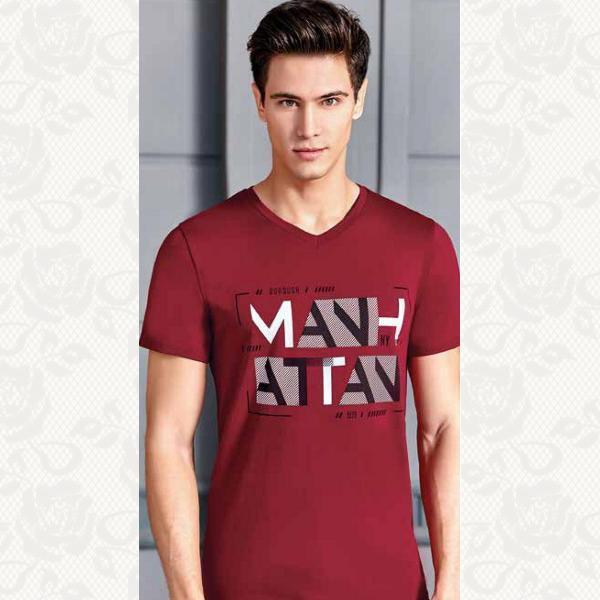 Мужская футболка, цвет бордо, 4058