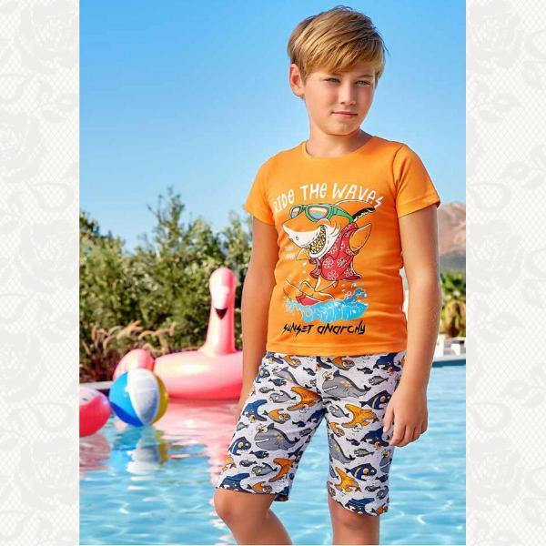 Домашний комплект для мальчика, цвет оранжевый с фото, 5378