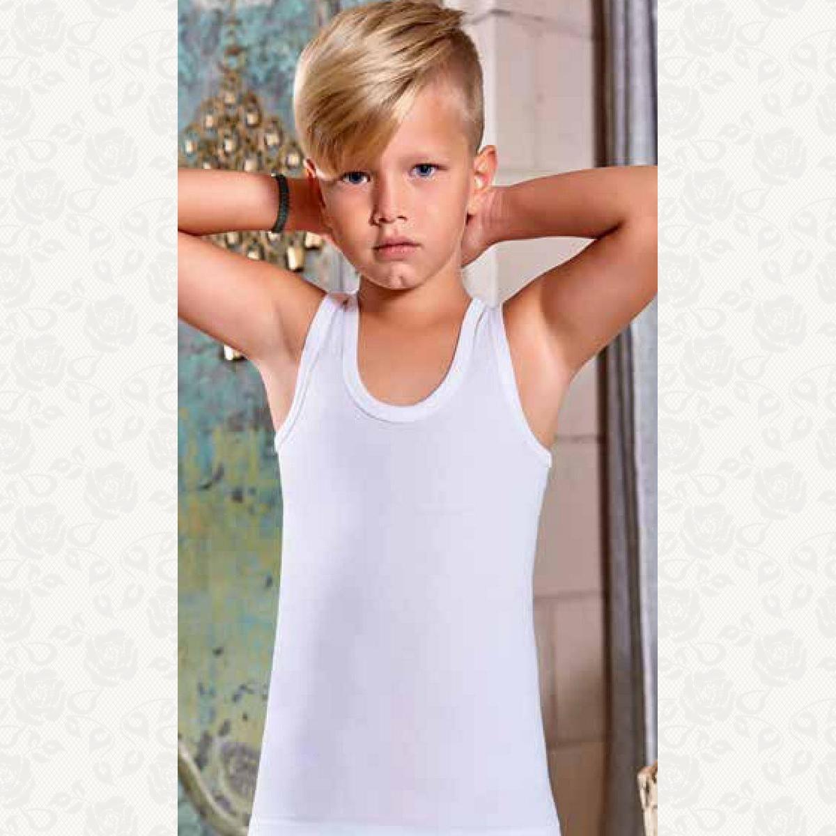 Майка для мальчика размер от 5 до 6, цвет белый, 6 шт.