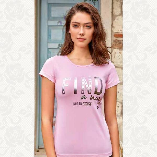 Футболка женская принт, цвет розовый с фото, 8094