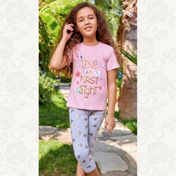 Домашний костюм для девочки, цвет розовый с фото, 2 шт., 5521