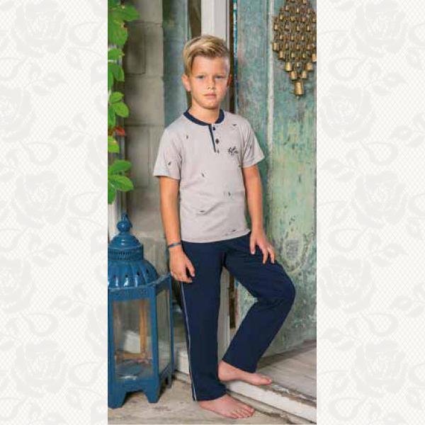 Домашний костюм для мальчика, цвет бежевый с фото, 2 шт., 935