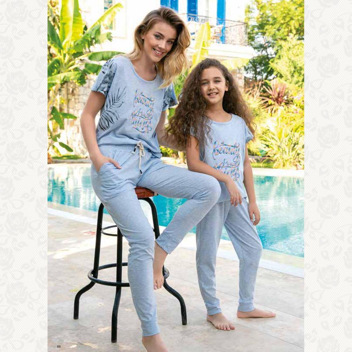 Домашний костюм для девочки, цвет серо-голубой с фото