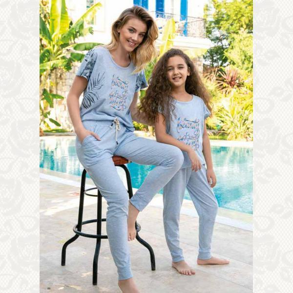 Домашний костюм для девочки, цвет серо-голубой с фото, 2 шт., 940