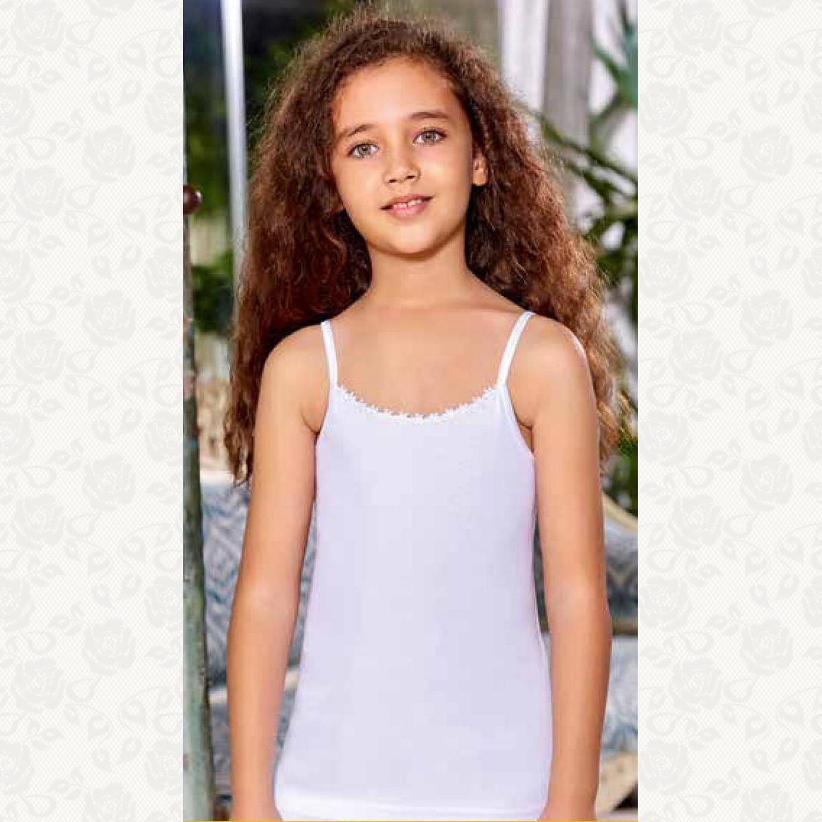 Майка для девочек размер от 1 до 3, цвет белый, 6 шт.