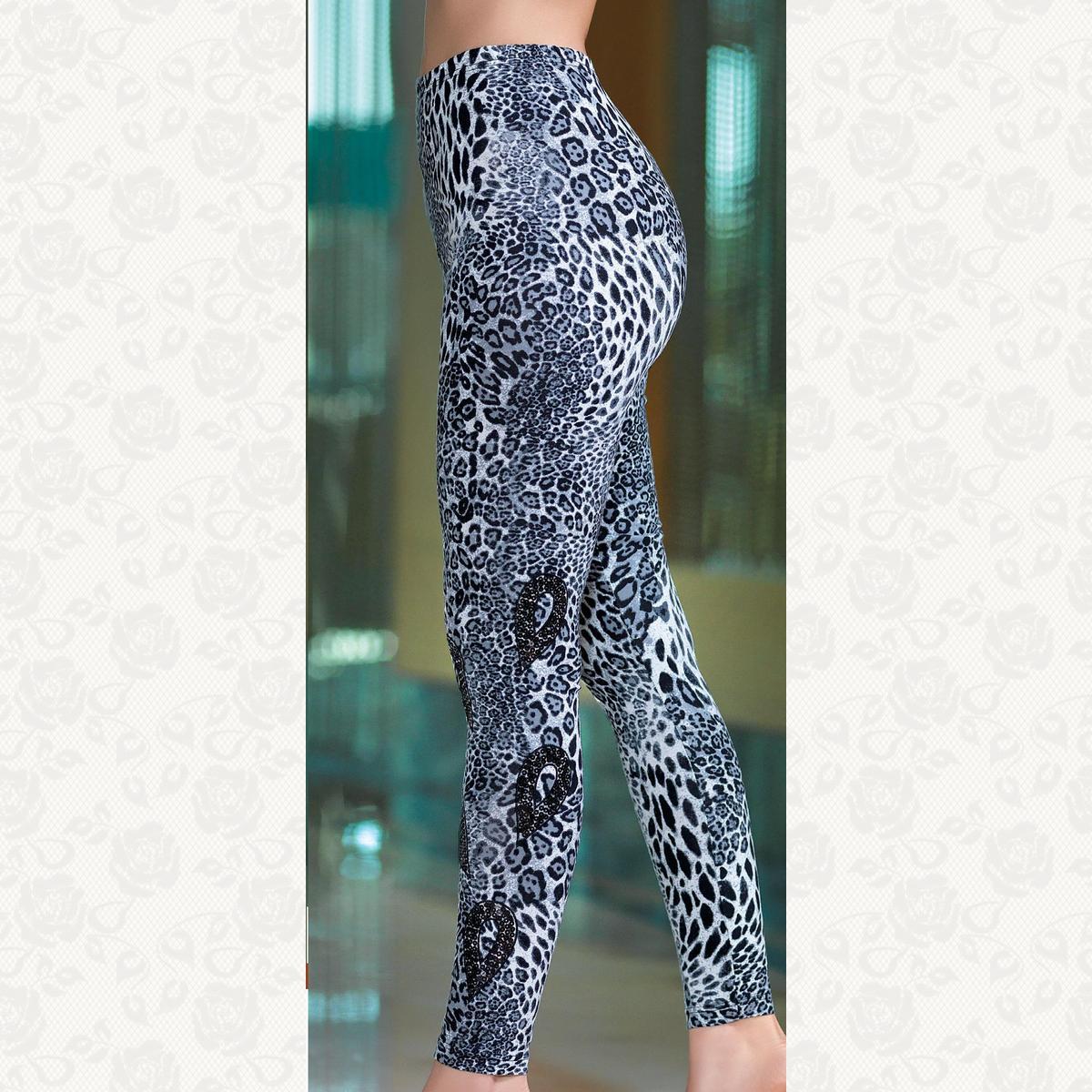 Лосины леопард с паетками, цвет черный с фото