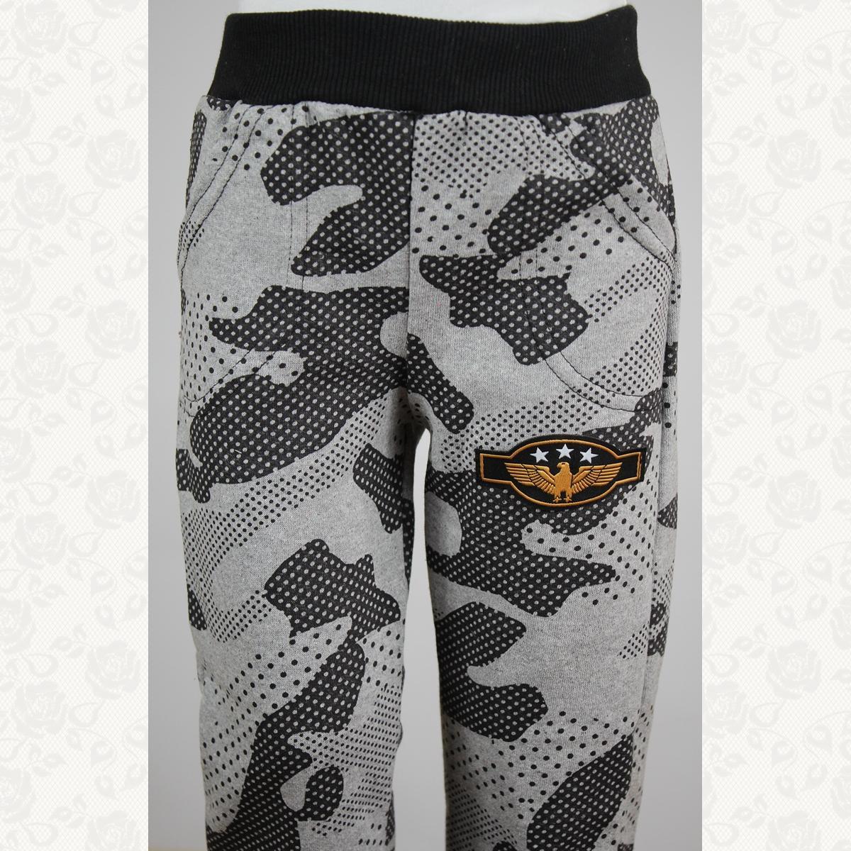 Спортивные штанишки на флисе с манжетиком, цвет серый, 5 шт.