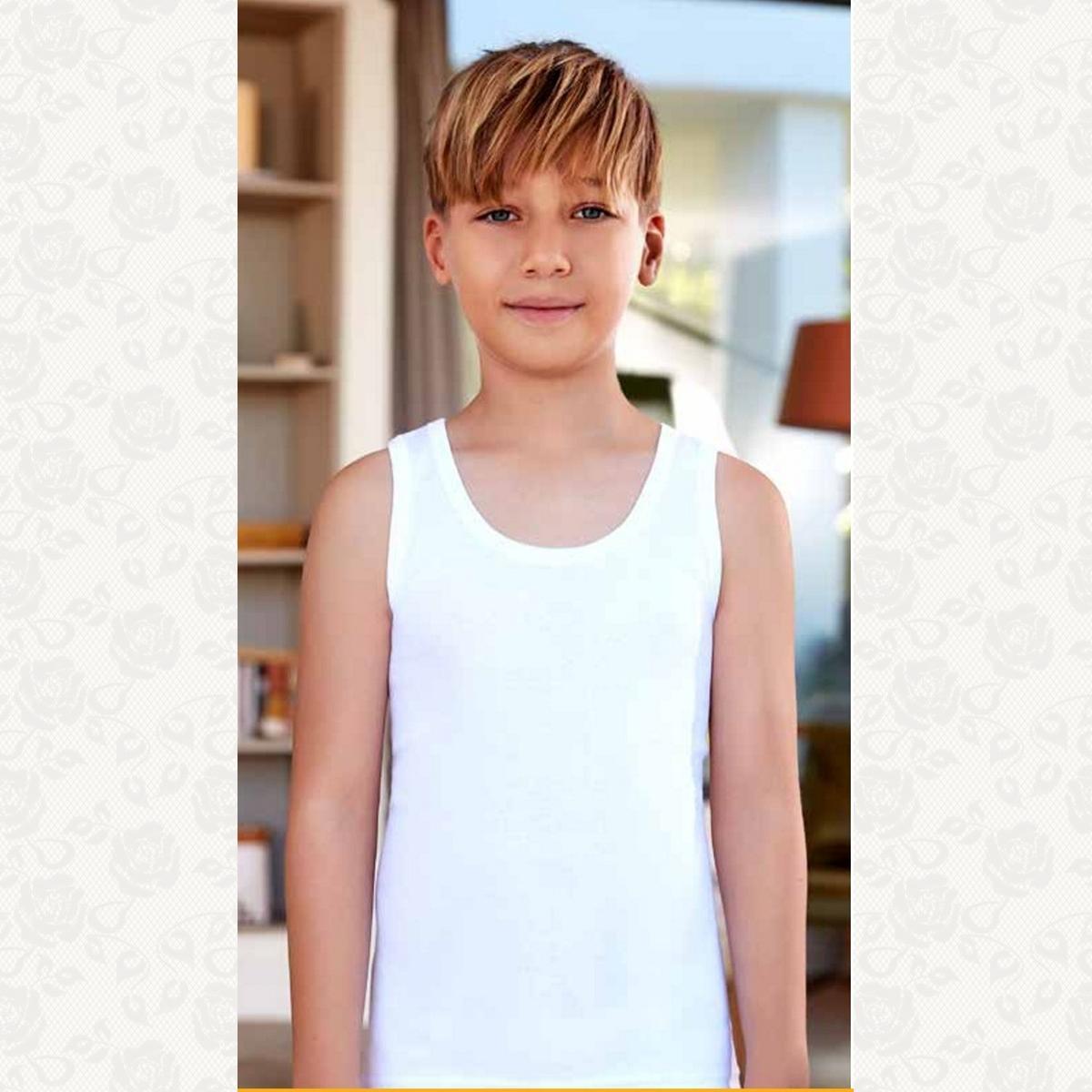 Майка для мальчика размер от 7 до 8, цвет белый, 6 шт.