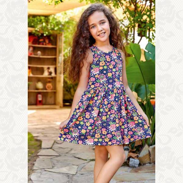 Домашнее платье для девочки, цвет синий с фото, 5535