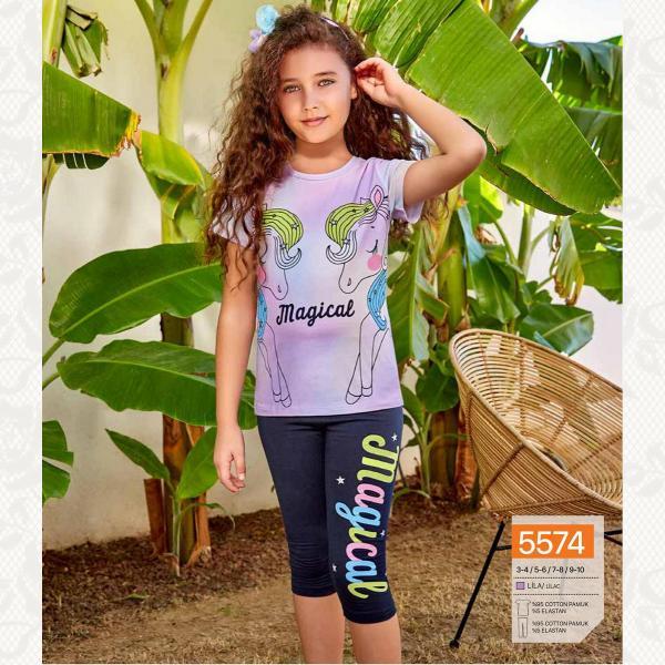 Домашний комплект для девочки, цвет сиреневый с фото, 5574