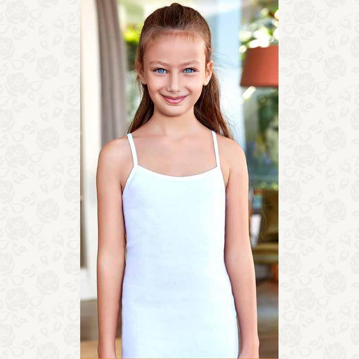 Майка девочка размеры от 4 до 7, цвет белый, 6 шт.