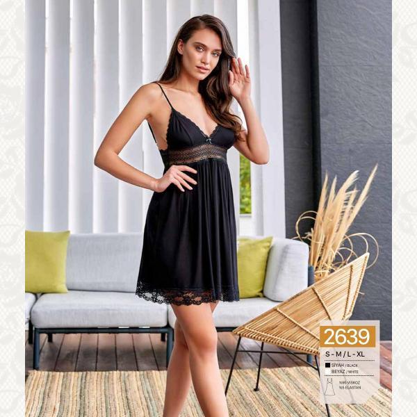 Ночная рубашка , цвет черный с фото, 2639