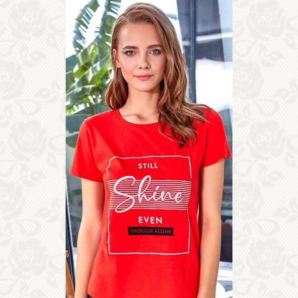 Футболка женская принт, цвет красный с фото, 8118