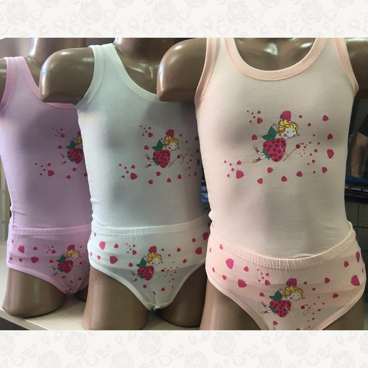 Комплект белья маечка с трусиками для девочки, цвет ассорти, 6 шт.